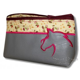 ITH HORSE Cosmetic Bag w. Inside Pockets 3 Sizes