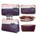 ITH HEART Love You Cosmetic Bag w. Inside Pockets 3 Sizes