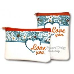 ITH 2x HEART Silhouette Zipper Bag 5x7 inch