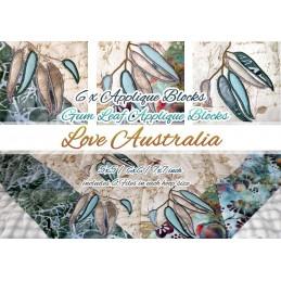 ITH 6 x Quilt Blöcke LOVE AUSTRALIA Applikation