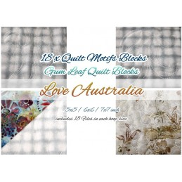 ITH 18 x Quilt Blocks LOVE AUSTRALIA Stipple Stitch