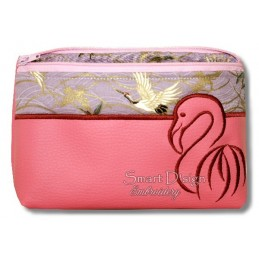 ITH FLAMINGO Silhouette Cosmetic Bag w. Inside Pockets 3 Sizes