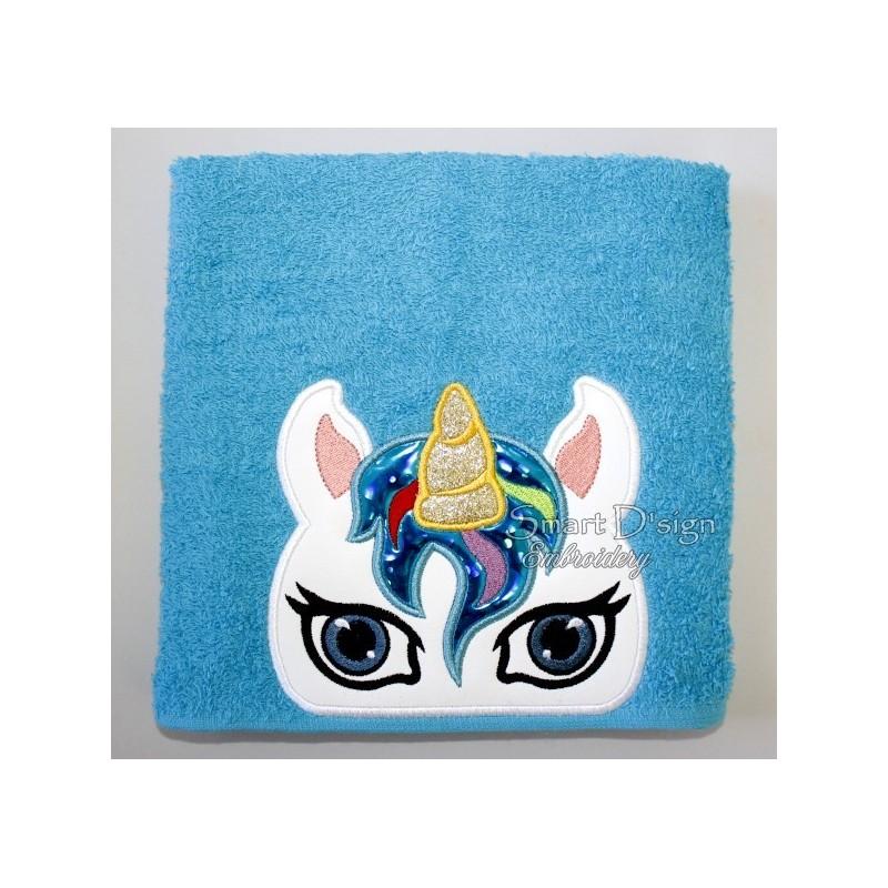 Peeker Applique Unicorn - 5x7 inch