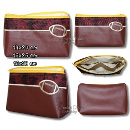 ITH RUGBY FOOTBALL Silhouette Cosmetic Bag w. Inside Pockets 3 Sizes