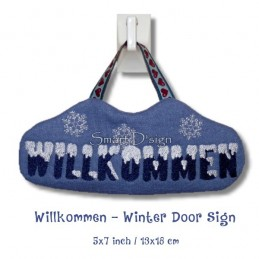 Willkommen - Winter Door Sign ITH 5x7 inch