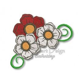 Meine Lieblingsblumen - 3 Blüten m. Ranke 10x10 cm