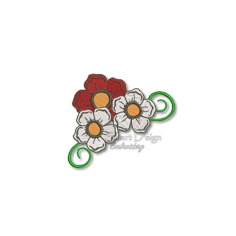 My Lovely Bloomers - 3 Flowers Swirl 4x4 inch