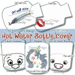 ITH Hot Water Bottle Cover - Kisses - 7x11 inch