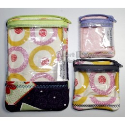 ITH 3x Window Bags with lining 4x4 & 5x7 inch