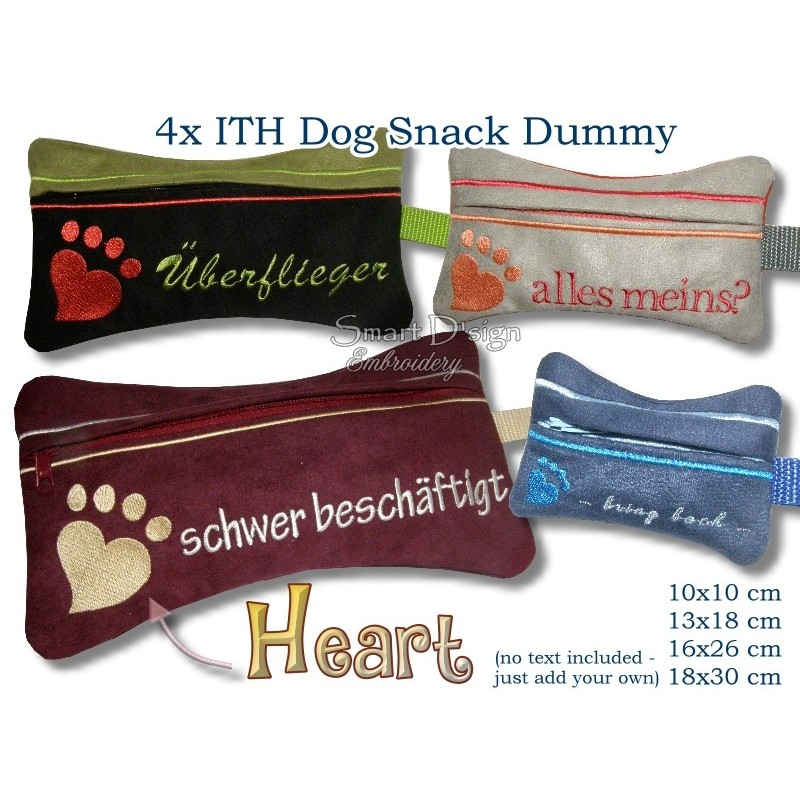 ITH Set 4x Heart Dog Snack Dummy 4 Sizes