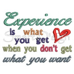 Experience Is What You Get Spruch 13x18 cm