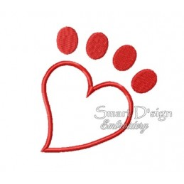 Paw Heart Applique 4x4 inch