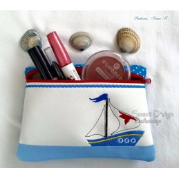 ITH LITTLE SAILOR Cosmetic Bag w. Back Pocket 5.5x7.9""