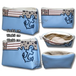 ITH ANCHOR Silhouette Cosmetic Bag w. Inside Pockets 3 Sizes