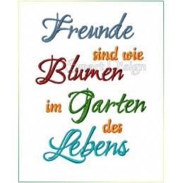 Freunde sind wie Blumen im Garden des Lebens - Spruch 13x18 cm