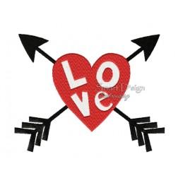 Love Herz m. Pfeilen 13x18 cm