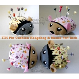 2 x ITH MOUSE & HEDGEHOG Pincushion 4x4 inch