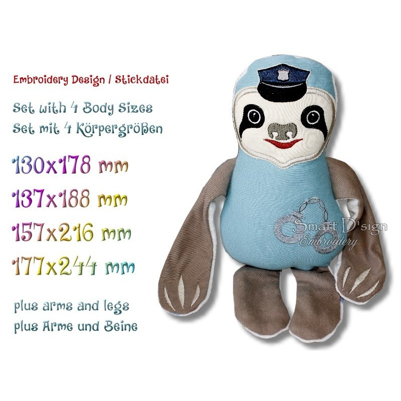 ITH SLOTH Police Officer 4 sizes