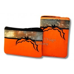 ITH 2x HALLOWEEN BAT Silhouette Bag w. Inside Pockets 5x7 inch