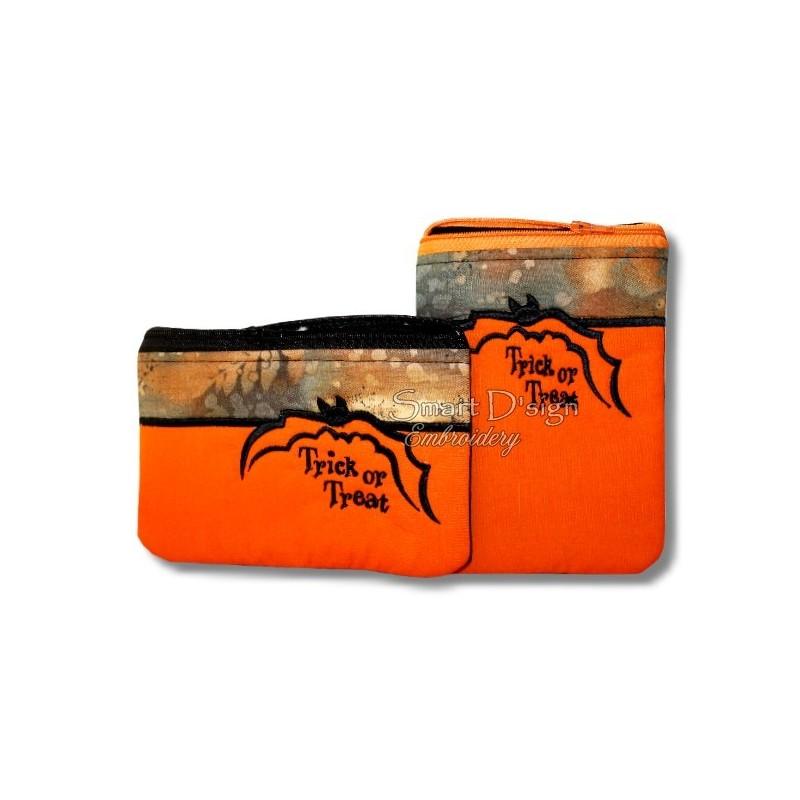 ITH 2x HALLOWEEN Fledermaus Silhouette RV-Tasche TRICK OR TREAT 13x18 cm