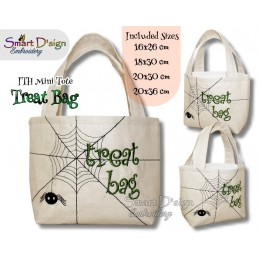 Spider Web ITH Halloween Treat Bag Set 4 Sizes