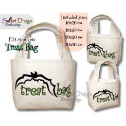 Bat Flying Fox ITH Halloween Treat Bag Set 4 Sizes