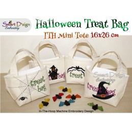 4x ITH Halloween Tote Treat Bags 6x10 inch