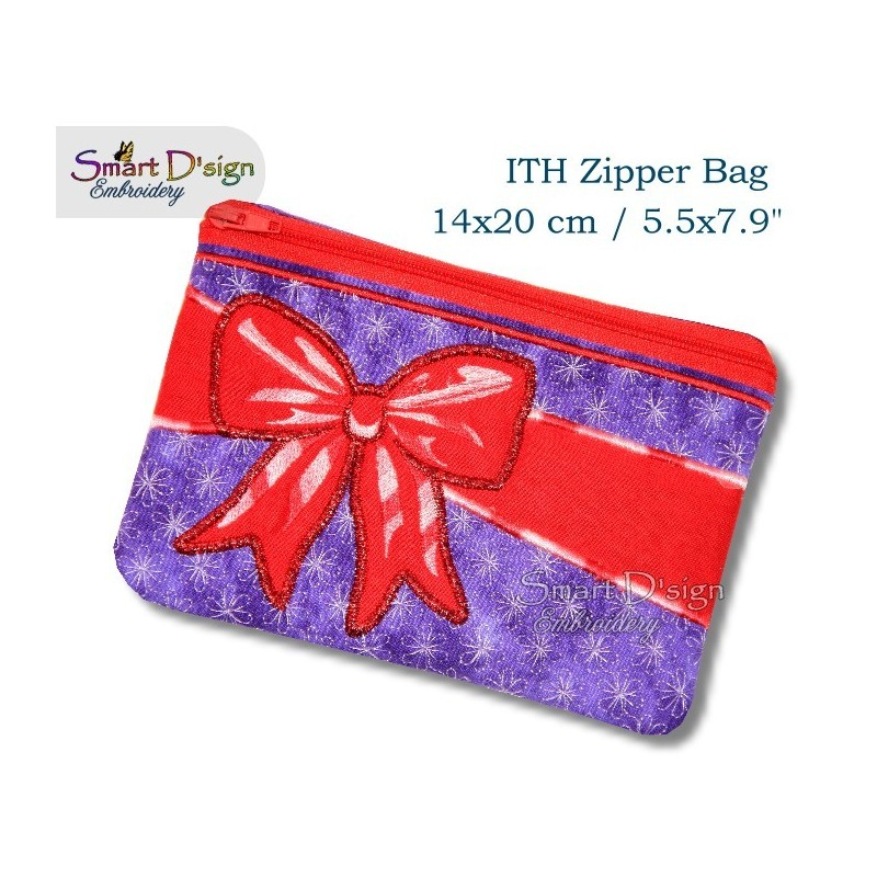 ITH Celebration Bow Applique 5.5x7.9 inch Zipper Bag