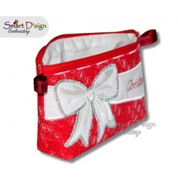 ITH Celebration Bow Applique 6x10 inch Zipper Bag