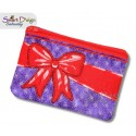 ITH Celebration Bow Applique 6x10 inch Zipper Bag