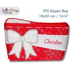 ITH Celebration Bow Applique 7x12 inch Zipper Bag