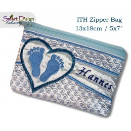 ITH Footprint Baby Applique 5x7 inch Zipper Bag