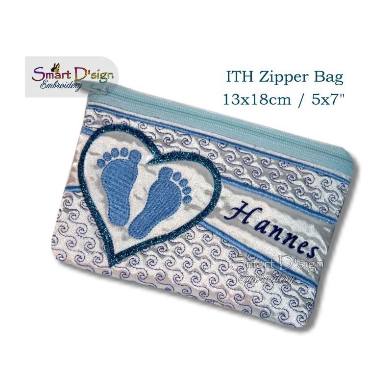 ITH Footprint Baby Applique 5x7 inch Zipper Bag