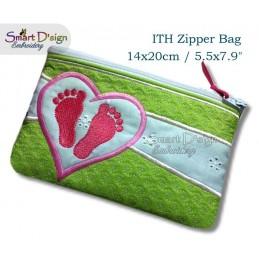 ITH Footprint Baby Applique 5.5x7.9 inch Zipper Bag
