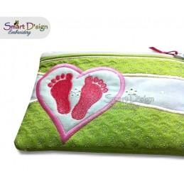 ITH Fussabdruck Baby Applikation RV Tasche 14x20 cm