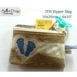 ITH Footprint Baby Applique 6x10 inch Zipper Bag