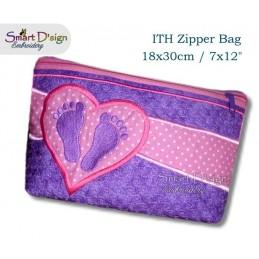 ITH Footprint Baby Applique 7x12 inch Zipper Bag