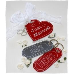 Just Married - 3 ITH Kofferanhänger Englisch 10x10 cm