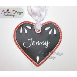 ITH Heart Christmas Tag Chalk Cloth 4x4 inch