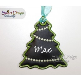 ITH Tree Christmas Tag Chalk Cloth 4x4 inch
