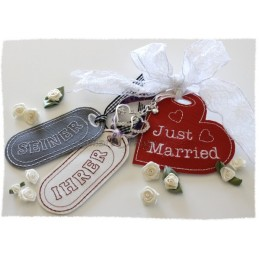 Just Married - 3 ITH Kofferanhänger Deutsch 10x10 cm