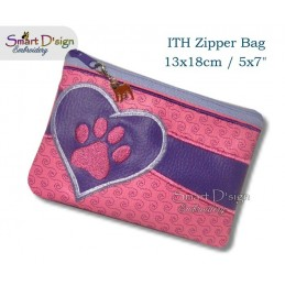 ITH Paw Print Applique 5x7 inch Zipper Bag