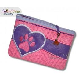 ITH Paw Print Applique 5x7 inch Zipper Bag