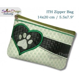 ITH Paw Print Applique 5.5x7.9 inch Zipper Bag