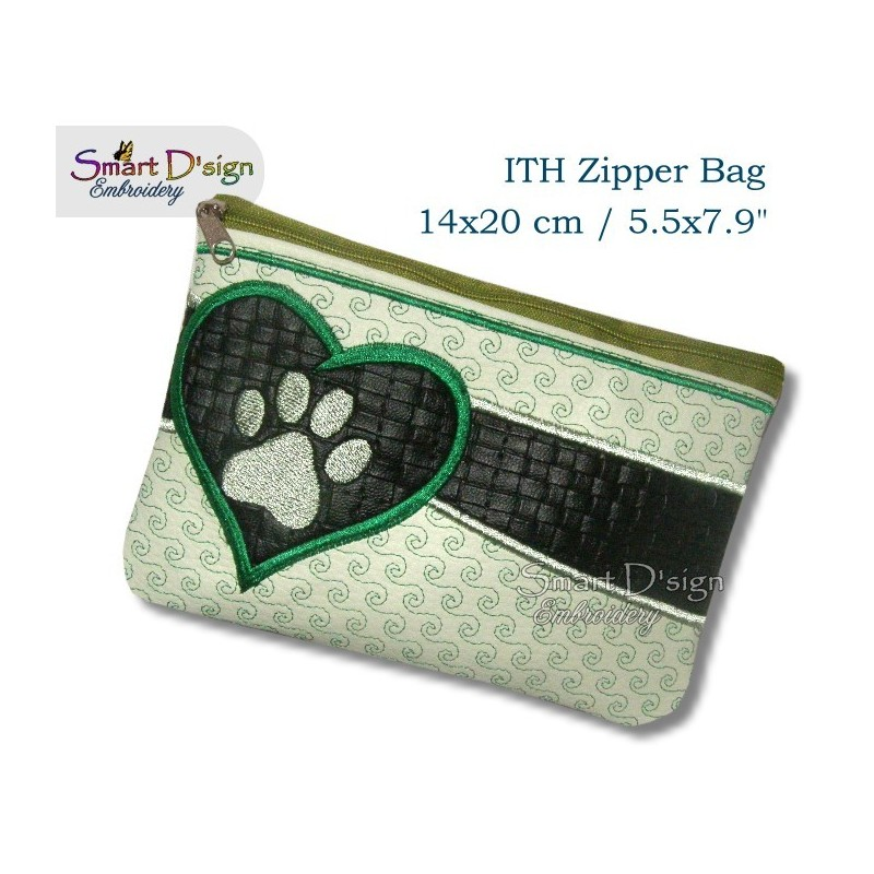 ITH Paw Print Applique 5.5x7.9 inch Zipper Bag