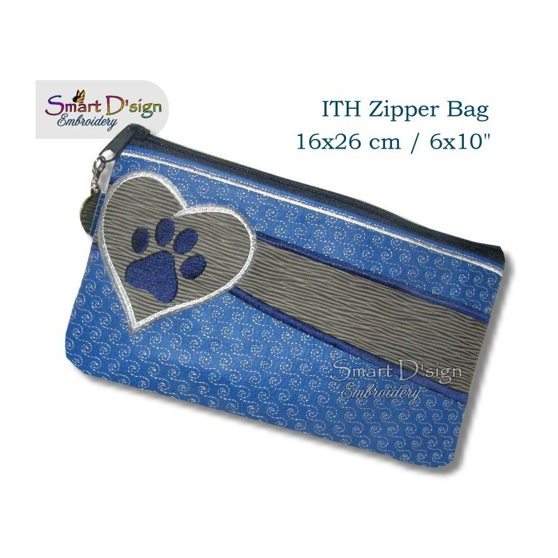 ITH Paw Print Applique 6x10 inch Zipper Bag