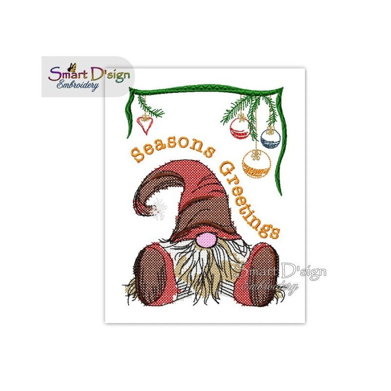 Christmas Gnome Seasons Greetings Cross Stitch 5x7 inch