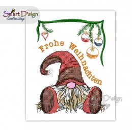 Christmas Gnome Frohe Weihnachten Cross Stitch 5x7 inch