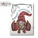 Christmas Gnome Girl Seasons Greetings Cross Stitch 5x7 inch