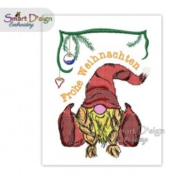 Christmas Gnome Girl Frohe Weihnachten Cross Stitch 5x7 inch